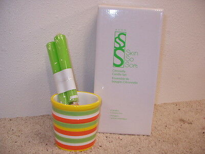 NIB OS Avon Skin So Soft Citronella Candle Set of 3 w/ Multi-Color Stripe Holder