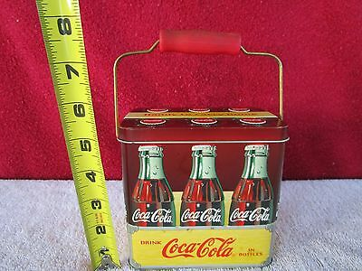 Vintage Style Coca-Cola 6 Pack Metal Tin Box w/Wood Handle w/Free Shipping