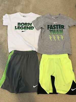 Nike Preschool Boys Lot of 4 Dri Fit Shorts and Graphic Tees Size 5 & 6