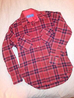 Mens Vintage JC Penney Red Plaid 100% Virgin Wool Button Front Shirt Medium 15.5