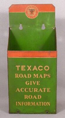 "1930's Texaco Road Map Holder, 9"" Tall Sheet Metal Advertising Display"