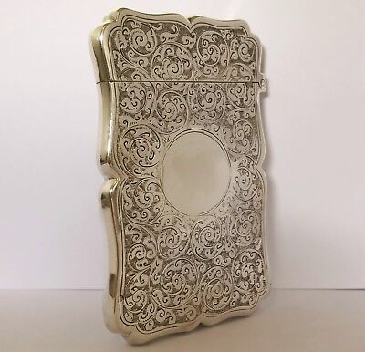 Antique Victorian Solid Silver Card Case Box - Birmingham 1893 - Colen Cheshire