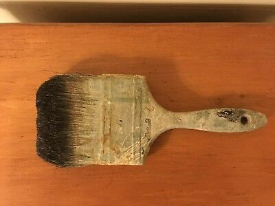 Old Used 4 Inch Wooden Handled Paint Brush Oil Paint Natural Bristles!