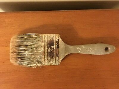 Old Used 3 Inch Wooden Handled Paint Brush Oil Paint Natural Bristles!