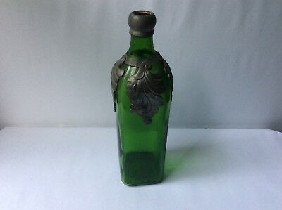 Antique 1851 Pewter Mounted Green Glass Walker's Kilmarnock Whiskey Bottle