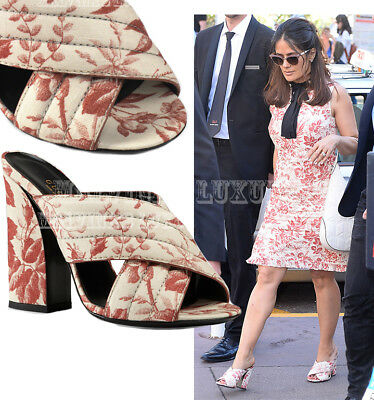 aefcefacc Gucci Shoes Cerise Herbarium Webby Crossover Mules Sandals $595 It 36.5 Us  6.5