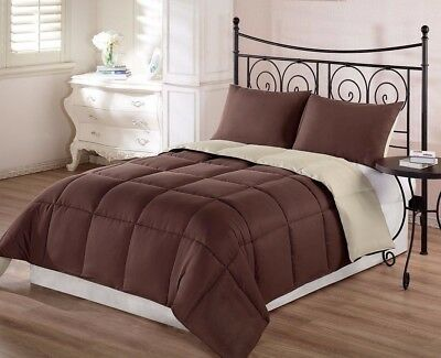 Chezmoi Collection 3pc Brown Tan Reversible Down Alternative Comforter Set Queen