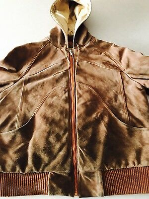 Suede Bermans Lined Vintage Distressed Jacket Coat Mens 42 Full Zip