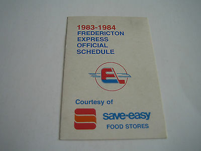 1983/84 AHL Defunct Fredericton Express Pocket Schedule***Save-Easy***