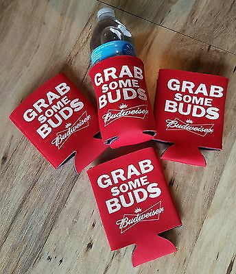 Grab Some Buds Budweiser Logo Lot of Four (4) Can Koozies Brand New