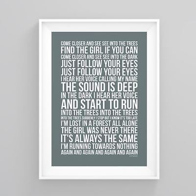 The Cure A Forest Lyrics Poster Print Artwork