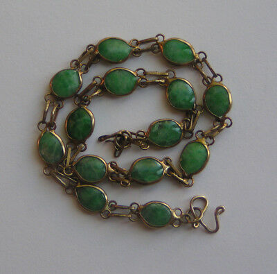 Vintage 20th Century Chinese Gilt Brass Chain Bracelet with Green Jade