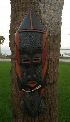 """VINTAGE AFRICAN CARVED WOOD MASK 22.5""""Tall   Handmade Tribal Tribe Wooden"""