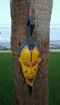 """VINTAGE AFRICAN CARVED WOOD MASK 24""""Tall   Handmade Tribal Tribe Wooden"""