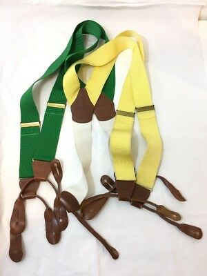 Brooks Brothers 2 Pairs Suspenders Braces Green & Yellow Leather Holders