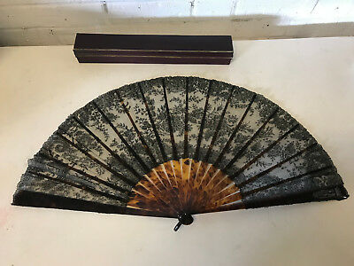 Vintage Possibly Antique Black Lace Mourning Fan w/ Floral Decoration w/ Box