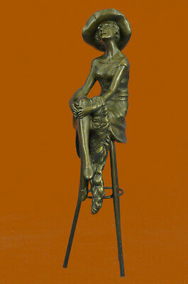 Woman Sits On Chair Handmade Bronze Museum Quality Classic Artwork Statue Art T