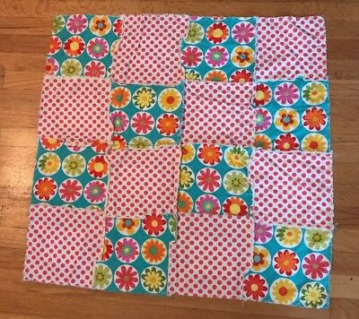 Girls Baby Handmade Rag Quilt-flowers And Polka Dots-great Photo Prop!