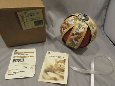 New Longaberger Tree Of Life Ornament 2012 Thanksgiving        A-1