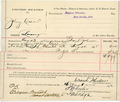 RARE African American Marshall in Hanging Judge Parker's Court 1894