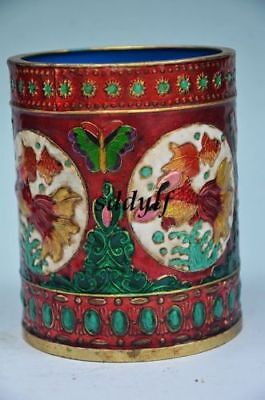 THE ANTIQUE GOOD CLOISONNE DRAGON IN ANCIENT CHINA. PEN CONTAINER NR zrf