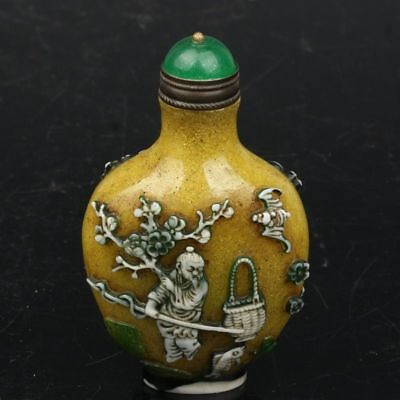 Chinese Exquisite Handmade bat sheep Old man carving Glass snuff bottle