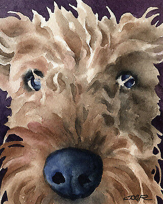 AIREDALE TERRIER Painting DOG 8 x 10 Art Print Signed by Artist DJR