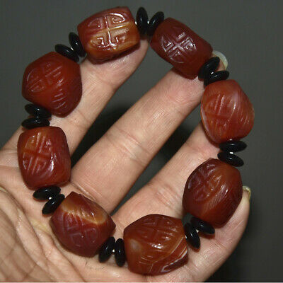 WHOLESALE  Chinese old agate bead sculpture bracelet
