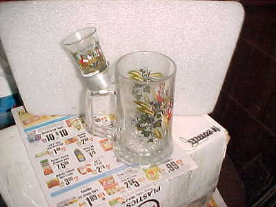"Disney Beer Stein Glass Hopfen Und Malz Gott Echalt's 6"" & Shot Glass~Germany"