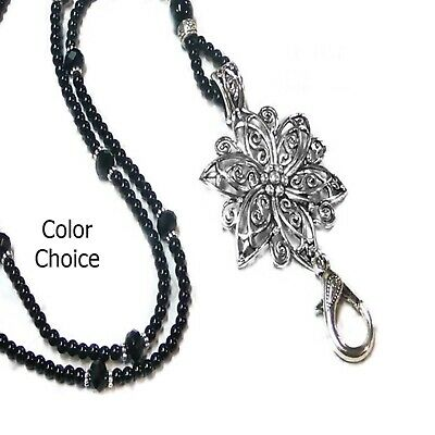 Beaded Necklace Lanyard work security id badge holder Black pearls silver flower