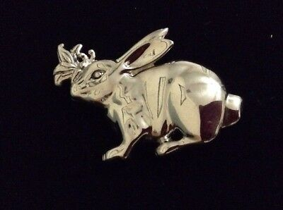 John Hardy Signed Rabbit Scarf Clip On Brooch