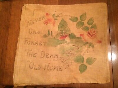 """Pillow Sham victorian """"I never can forget the dear old home"""" rare botanical"""