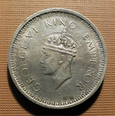 India, British - 1942-B Silver Rupee - King George Vi - Km#557.1   Gtc
