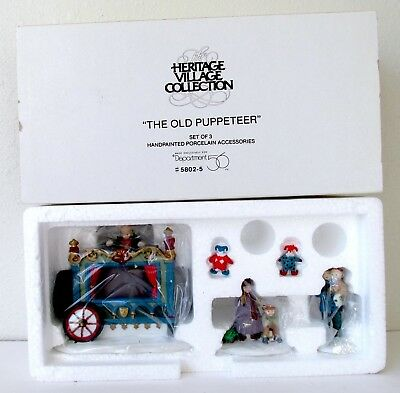 NEW IN BOX Dept. 56 THE OLD PUPPETEER Heritage Dickens Village SET of 3