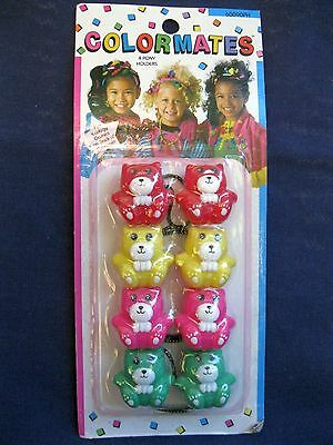 Vtg New 4 Bears Ponytail Holders Green, Pink, Red Yellow Bear In Package 70-80's