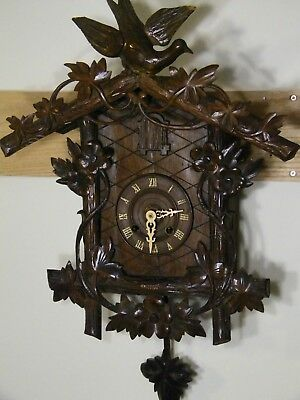 **RARE* Huge Antique Hand Carved KEY-WIND 8 Day GERMAN BLACK FOREST Cuckoo Clock