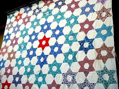 Vintage 1930's 40's Six point star quilt top hand quilted