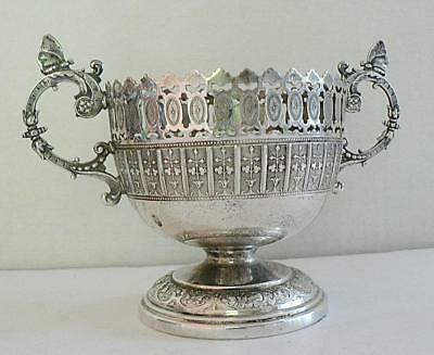 1900s WMF GERMANY SILVER PLATE SUGAR BOWL ART NOUVEAU BUTTERFLY OSTRICH MARK