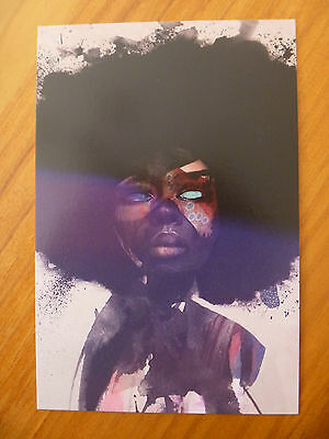 """Postcard Titled """"afro Funk""""..afro Hairstyle..funky..voodoo Face..big Black Hair"""