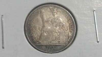 1901 FRENCH INDO-CHINA SILVER 10 CENTS - UNC - Toned - Vietnam - KEY DATE - RARE