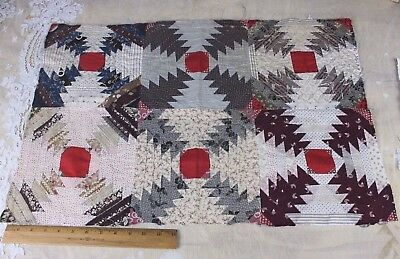 """Antique American Hand Sewn """"Chimney Sweep"""" Log Cabin Civil War Era Quilted Piece"""