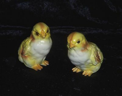 "Lot of 2 Vintage Lefton 3 1/2"" Yellow Baby Chick Easter Spring Figurines Japan"