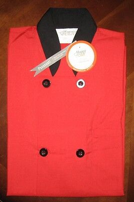 Happy Chef Short Sleeve Lightweight Chef Coat Red XS New