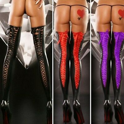 Women's Faux Leather Over The Knee Thigh High Socks Bandage Lace Up Stockings