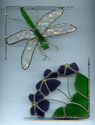 Stain Glass Corner Hanger Dragon Fly and Violets Flowers Opalescent Wings