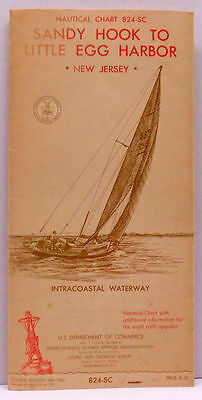 1966 Nautical Chart 824-SC Sandy Hook To Little Egg Harbor New Jersey Forth Ed.