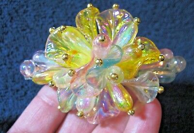 Vtg Nos Beaded Iridescent Yellow, Purple, Blue & Pink Hair Barrette French Clip