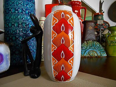 Retro 1960s vase, vintage West German Jaeger  fat lava Bitossi era Eames pottery