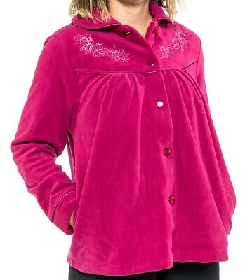 Ladies S-XXL Givoni (90) Button Up Bed Jacket Lounge Wear Polar Fleece Berry