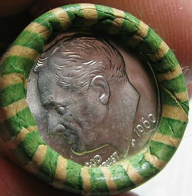 1960 D Obw Original Bank Wrapped Roll Bu Uncirculated Silver Roosevelt Dimes